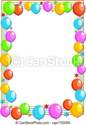 Drawing Of Balloon Border Colourful Birthday Party