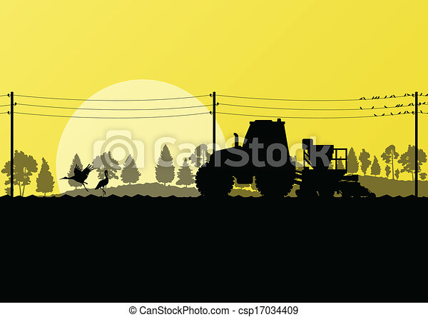 Agriculture tractor sowing crop in cultivated country field landscape background illustration vector - csp17034409