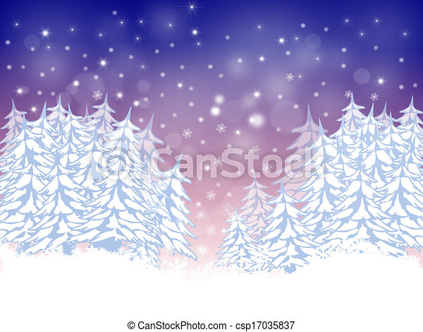 Christmas card with firs - csp17035837