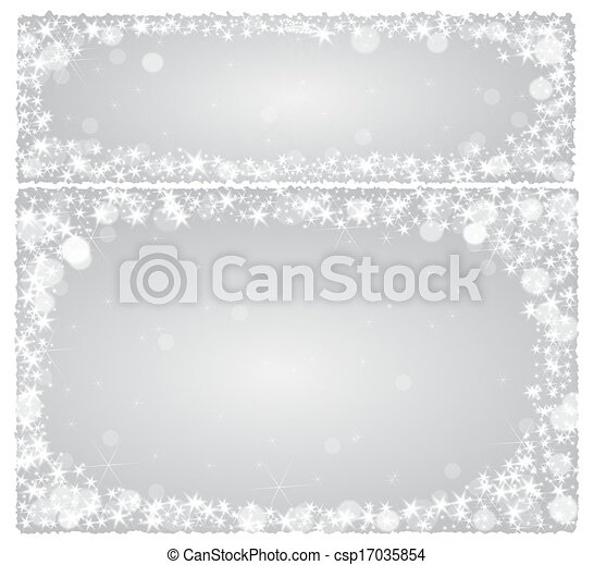 Frame christmas card on a silver background with stars - csp17035854