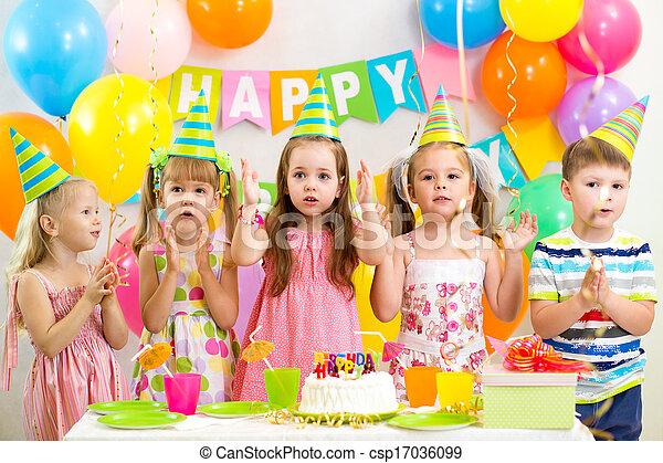 happy kids celebrating birthday holiday