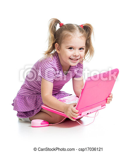 funny child playing with laptop toy - csp17036121
