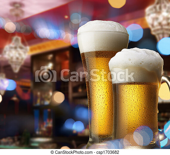 beers on bar counter - csp1703682
