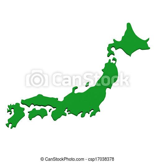 日本, 地図, 上に, 白 - csp17038378