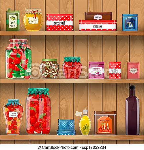 Vector of wooden shelves with organic food csp17039284 - Search Clip ...