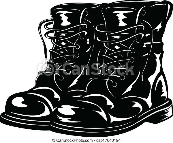 EPS Vectors of black army boots - Vector illustration ...