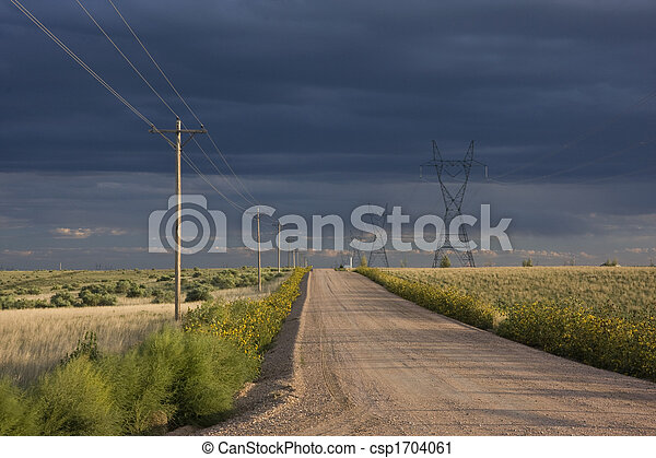 dirt road in eastern Colorado prairie - csp1704061