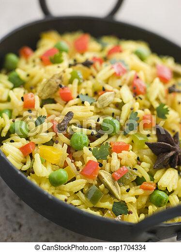 Vegetable Pilau Rice in a Balti Dish - csp1704334