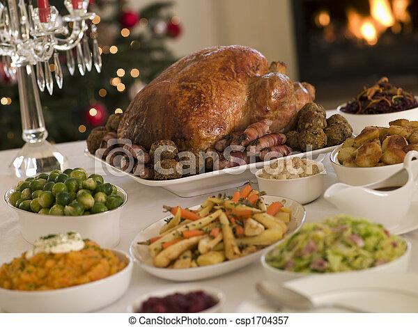 Natal, assado, peru, tudo, enfeites - csp1704357