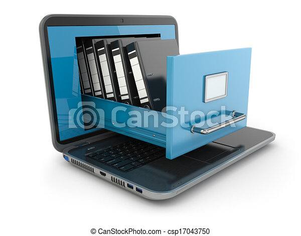 Data storage. Laptop and file cabinet with ring binders. - csp17043750