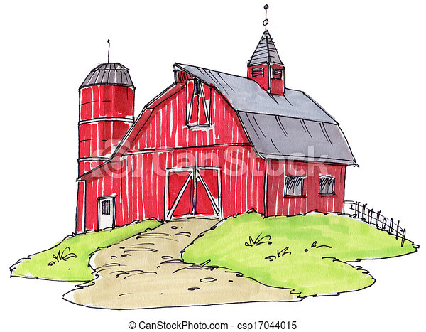 Clipart of old barn - just an old red barn csp17044015 - Search ...