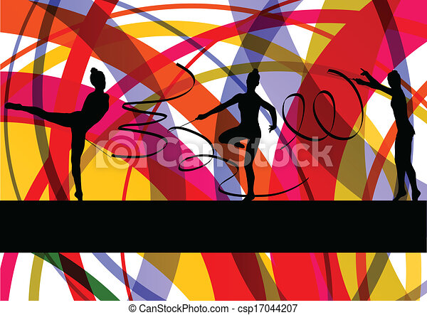 Young women doing calisthenics art gymnastics sport tricks with ribbon in abstract background illustration vector - csp17044207