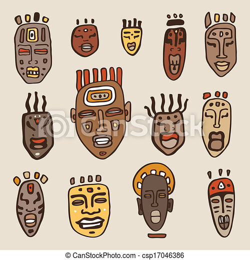African Masks Drawings African Masks Set Ethnic Hand
