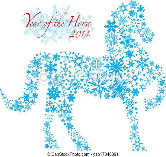 2014 Chinese Horse with Snowflakes Pattern Illusrtation - csp17046391
