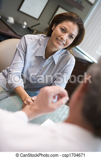 Woman in consultation at IVF clinic (selective focus) - csp1704671