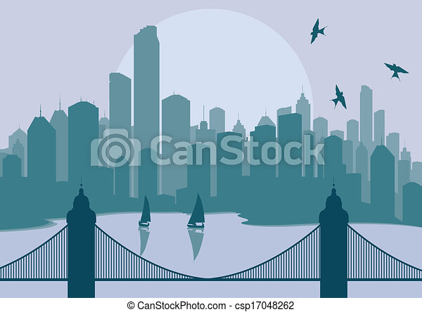 Clip Art Vector of City landscape illustration vector for ...