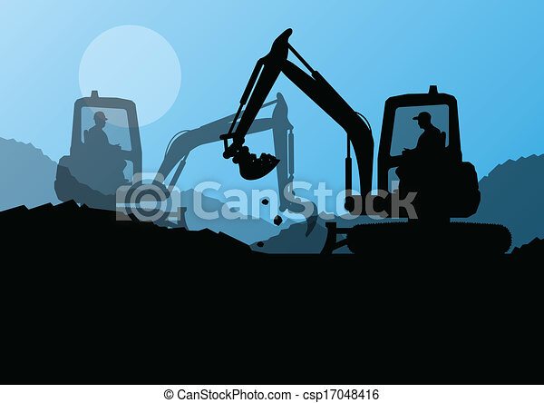 Excavator Loaders And Workers Digging At... Vector ...
