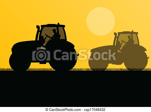 Agriculture tractors in cultivated country field landscape background illustration vector - csp17048432