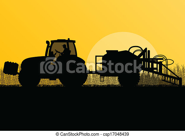 Agriculture tractor spraying pesticides in cultivated country grain field landscape background illustration vector - csp17048439