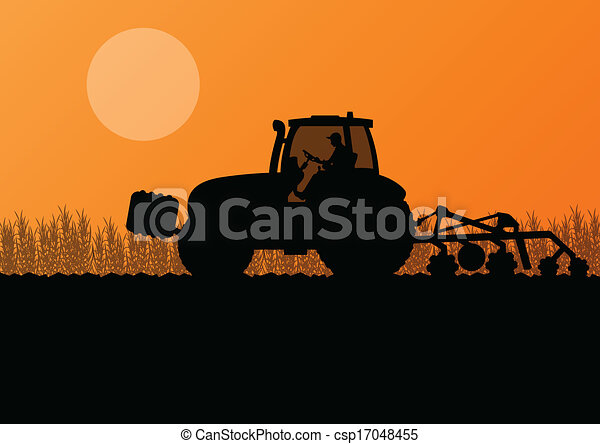 Agriculture tractor cultivating the land in cultivated country grain field landscape background illustration vector - csp17048455