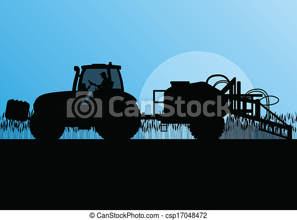 Agriculture tractor spraying pesticides in cultivated country grain field landscape background illustration vector - csp17048472