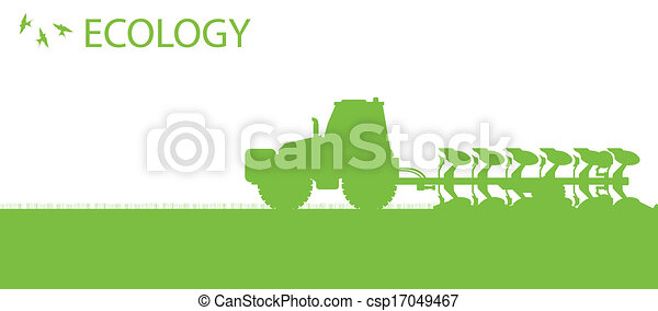 Agriculture tractors plowing the land in cultivated country fields ecology vector concept - csp17049467
