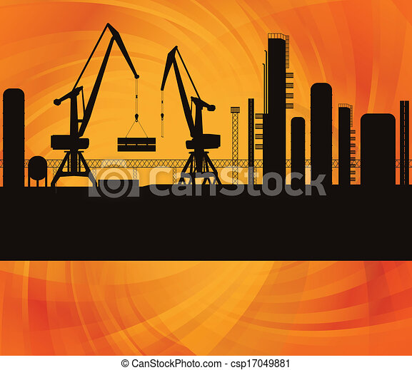 Clipart Vector of Oil refinery silhouette. Vector illustration ...