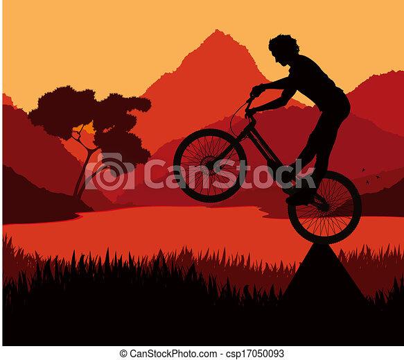 Mountain bike trial rider vector background