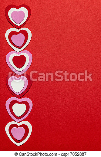 Red Valentines day background with hearts - csp17052887