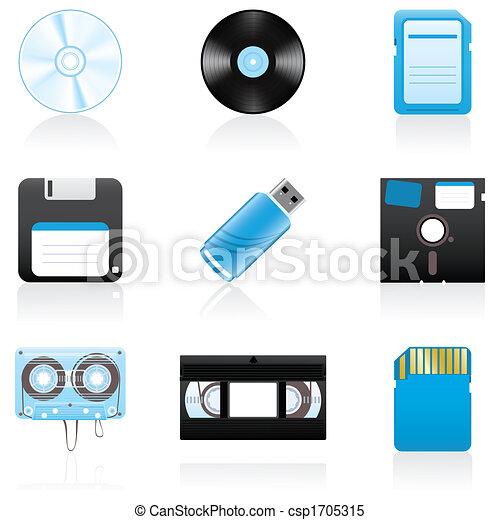 Icon set Storage media - csp1705315