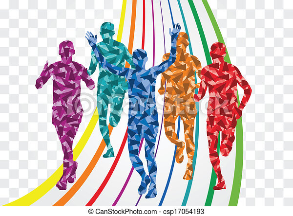 Vector Illustration of marathon runners silhouettes - 40 high ...