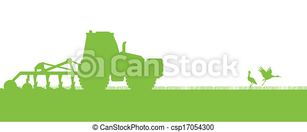 Agriculture tractors plowing the land in cultivated country fields ecology vector concept - csp17054300