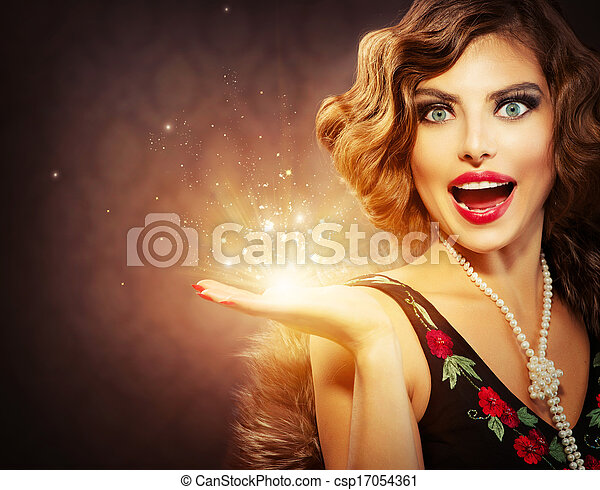 Retro Woman with Holiday Magic Gift in her Hand - csp17054361