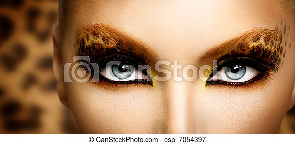 Beauty Fashion Model Girl with Holiday Leopard Makeup - csp17054397