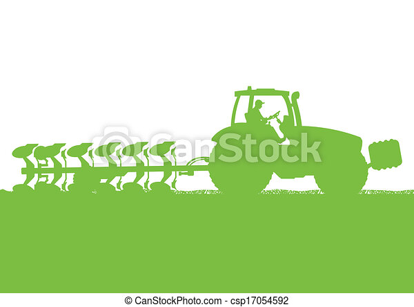 Agriculture tractor plowing the land in cultivated country grain field landscape background illustration vector - csp17054592