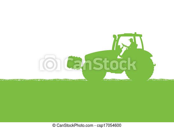país, milho, ilustração, campo, vetorial, trator, fundo, cultivado, agricultura, paisagem - csp17054600