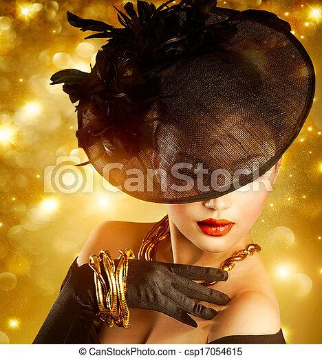 goldenes, frau, aus, glanz, hintergrund, porträt, feiertag - csp17054615