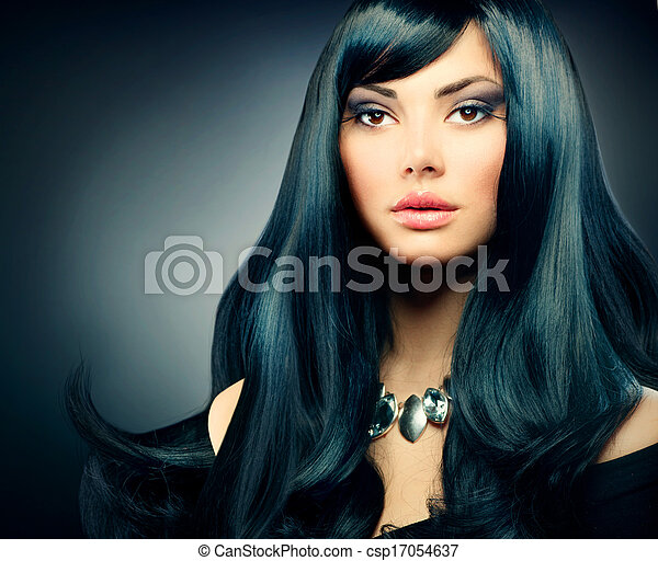 Brunette Luxury Girl. Healthy Long Black Hair and Holiday Makeup - csp17054637