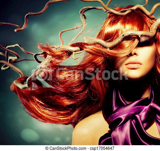婦女, 卷曲, 長, 頭髮, 時裝, 肖像, 模型, 紅色 - csp17054647