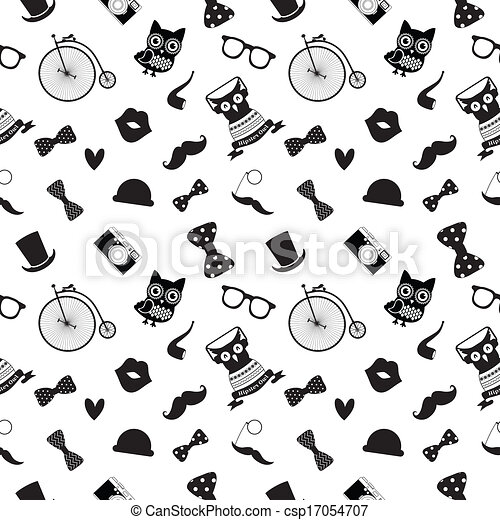 Vector Clipart of Hipster Black and White Seamless Pattern ...