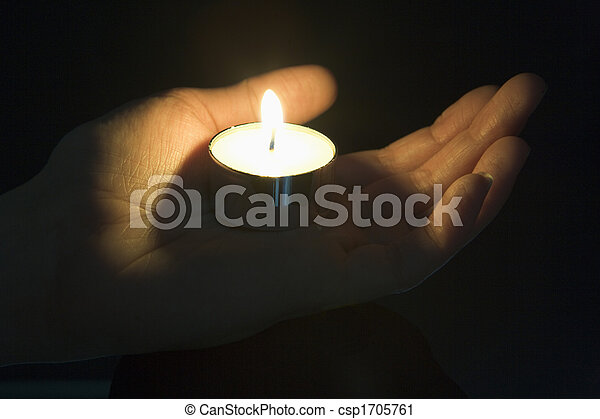 Close-Up Of Candle In The Palm Of A Persons Hand - csp1705761