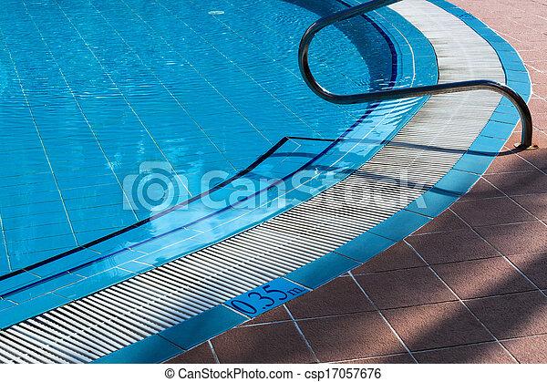 metal railings stairs pool - csp17057676