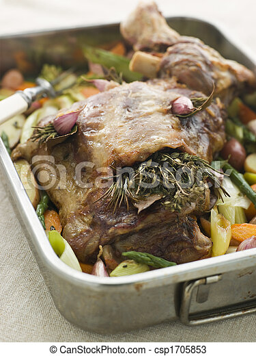 Slow Roasted Shoulder of Lamb Stuffed with Herbs de Provence Roasted Vegetables - csp1705853
