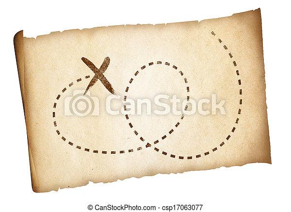 karta, gammal, piratkopierar, enkel, skatt, märkt, lokalisering, bana - csp17063077