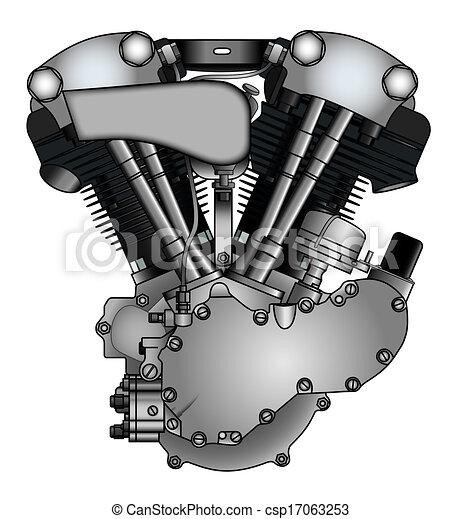 archivio illustrazioni di motore  classico  motocicletta  v twin classico  v twin Knucklehead Engine Drawings Harley Engine Diagram