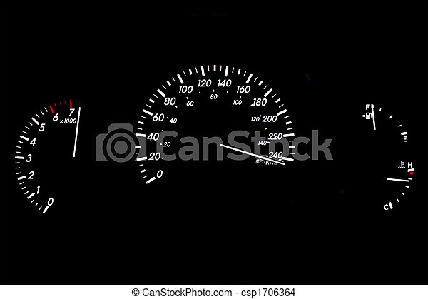High Speed Car Gauge Display Isolated on Black - csp1706364