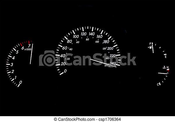 High Speed Car Gauge Display Isolated on Black - csp1706364