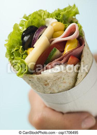 Open Deli Tortilla Wrap in a Napkin - csp1706495