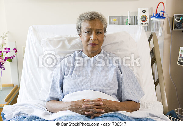 Senior Woman Sitting In Hospital Bed - csp1706517