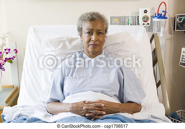 Senior Woman Sitting In Hospital Bed - csp1706517